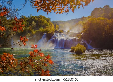 Skradinski bug great waterfall in Krka national park with autumn colors of trees, famous travel destination in Dalmatia of Croatia