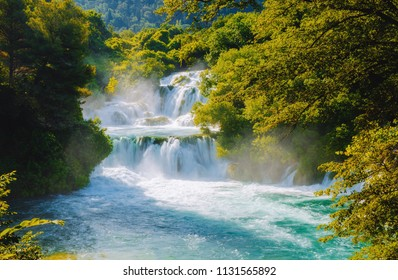 Skradinski buk the most unusual waterfall in Krka National Park. Location place Sibenik city, Skradin resort (Lozovac), Croatia, Europe. Scenic image of popular travel destination. Beauty of earth.