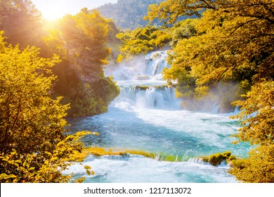 Skradinski buk the most unusual waterfall in Krka National Park. Location place Sibenik city, Skradin resort (Lozovac), Croatia, Europe. Scenic image of popular travel destination. Beauty of earth.