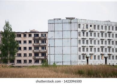 Skrunda/Latvia June 12, 2019  Desolate soviet apartment blocks in Skrunda, Latvia. Former dormitory district in the soviet military base. - Image