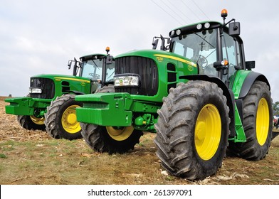 Skrzelew - October 09: Presentation of the John Deere Tractors (6630 and 7530 series) during the XIII Days of Corn on October 09, 2011 in Skrzelew, Poland.