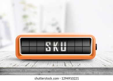 SKU sign and abbreviation for stock keeping unit in a bright room on a table