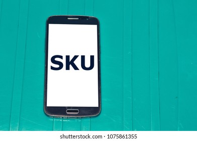 SKU word written in smartphone