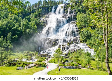 Skulestadmo,Norway - June 3 2018:Tvindefossen Waterfall is a gorgeous 152m waterfall near Voss tumbling.