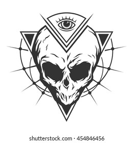 The skull is an alien and all-seeing eye with geometric elements. Illustration vector copy.