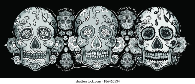 Skull Art Black and White