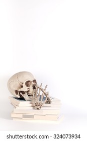 Skull and books isolated on white background