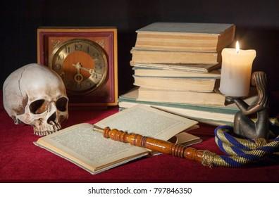 skull and books still life