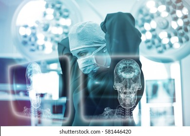 Skull and brain graphic on black against female surgeon wearing surgical mask 3d