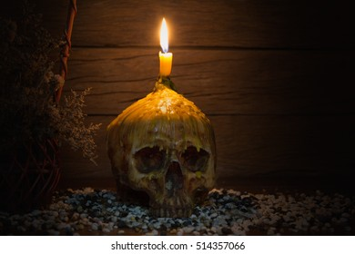 Skull with candle and basket of sear flowers on old wooden table and pebble / Select focus and Still life image and art visual