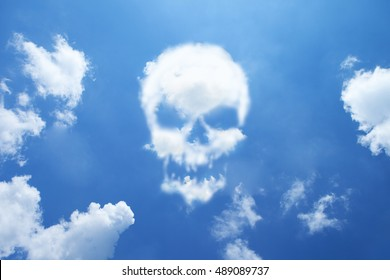 Skull cloud shape on sky.