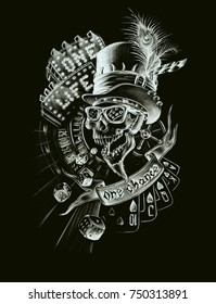 Skull composition, one life one chance, hand drawn illustration, white on black, gambling theme and luck, poker, roulette, gambling, dice