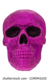 Skull Covered in Purple Glitter on a white background