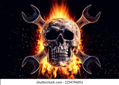 Skull and crescent wrench in fire on a black background. Photo manipulation artwork, 3D rendering.