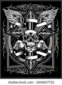 Skull and Cross with dagger knife