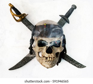 skull and crossbones  from above