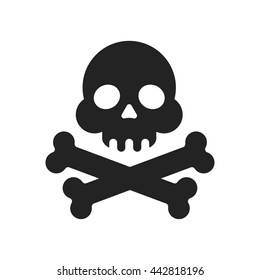 "Skull and crossbones flat icon. Skull and crossbones isolated on white background. Pirates flag ""Jolly Roger"" - skull and crossbones"