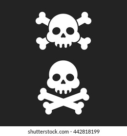 "Skull and crossbones flat icon. Skull and crossbones isolated on background. Pirate flag ""Jolly Roger"" - skull and crossbones"