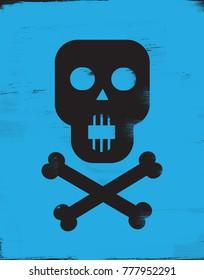 Skull and Crossbones on blue background
