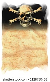 Skull and Crossbones on Original Antique PARCHMENT PAPER with space for your Text or Design