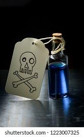 Skull and crossbones paper tag labels bottle of poison