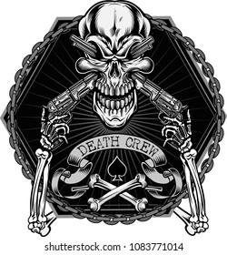Skull and crossed guns