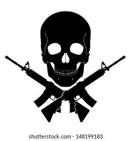 skull with crossed guns/ black white illustration
