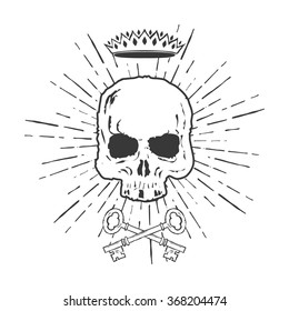 Skull with Crossed Keys and Crown Illustration