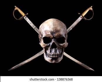 Skull and crossed swords in a pirate fashion