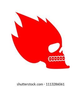 Skull fire. Head skeleton flame. flaming skull tattoo sign