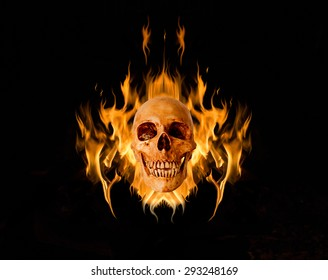 Skull in flame, On black background