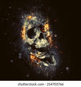 Skull in flames, horror or Halloween concept