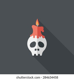 Skull flat icon with long shadow