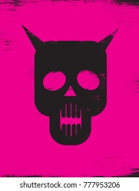 Skull with horns on pink background
