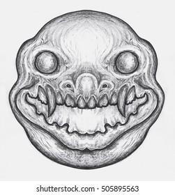 Skull icon in black monochrome style, on white background. Death symbol, hand-drawn illustration.