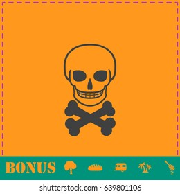 Skull icon flat. Simple illustration symbol and bonus pictogram