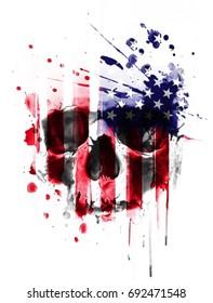 Skull illustration.T-shirt Graphics.Template for design cards, notebook, shop, poster.