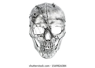 Skull mask with barbed wire isolated on a white background.