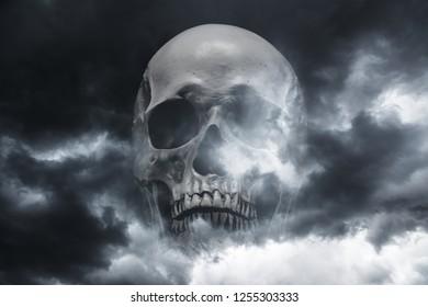 Skull on the background of the atmospheric dark sky.