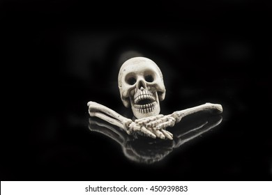Skull on a black background.
