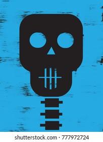 Skull on blue background