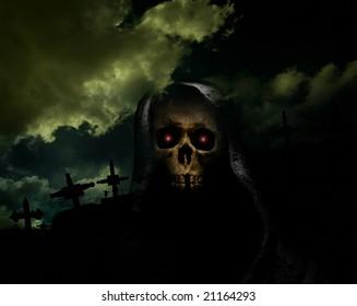 skull on hook in front of crosses in cemetery