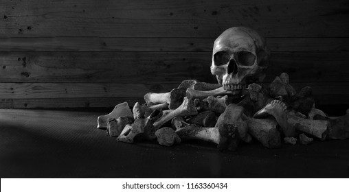 Skull on the pile of bones with candle put on the dark floor and wooden wall is background dim light  room / selective focus,and adjustment size for banner, cover, header, Still Life Image