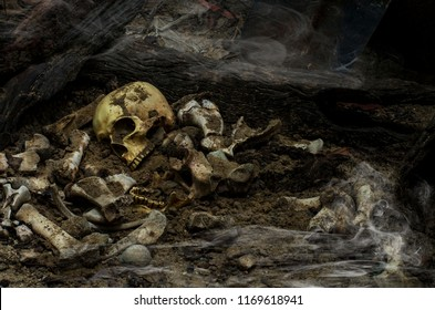 A skull on pile bones from pit in the scary graveyard in deepest cold night and screaming sound all the time,the soul drifts into smoke to claim justice with horror in a terrible nigh.still life style