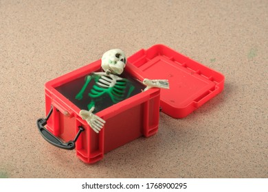 the skull and other parts of the skeleton are immersed in green liquid in a red plastic container. strange find