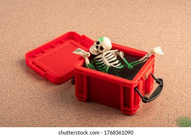 the skull and other parts of the skeleton are placed in a green liquid in a red plastic container. opened the old box
