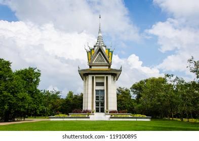 Skull Pagoda at The Killing Fields of Choeung Ek in Phnom Penh, Cambodia