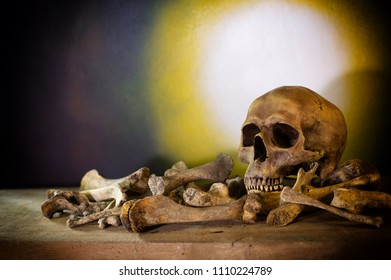 Skull and pile bones put on the wooden plank which has image moonlight on the wall background dim light / blurred and selective focus, Still Life Image