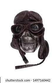 skull in racing helmet on a white background