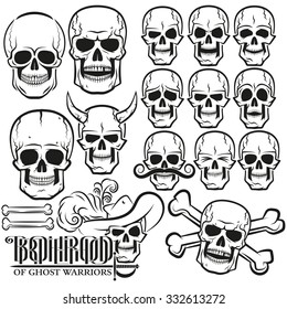 Skull set of emotions on a white background in high resolution.